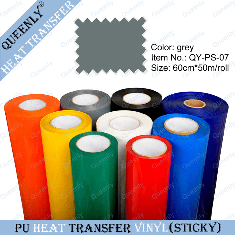 Sticky back grey PU heat transfer vinyl heat transfers for t shirts 60cm*50m/roll(China (Mainland))
