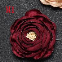 Boyute Retail 1 Potongan Kain Bunga Mawar Bros Kerah Pin Pria Klasik Pernikahan Boutonniere 17 Warna Solid(China)