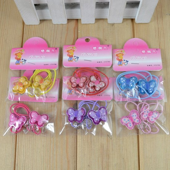 Cute Baby kid children girl Elastic Hair bands circle butterfly design rubber band color mix o H02