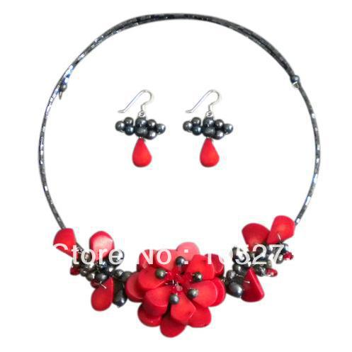 Stunning Memory Wire Red Coral Natural Freshwater Pearl Floral Bouquet Necklace 18 925 Silver Earrings Jewelry Set 4-16mm<br><br>Aliexpress