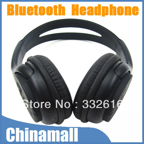 Black Over the head Wireless Bluetooth V2.1 Stereo Headset Headphone for Cell Phone Laptop PC Tablet Free Shipping Drop Shipment