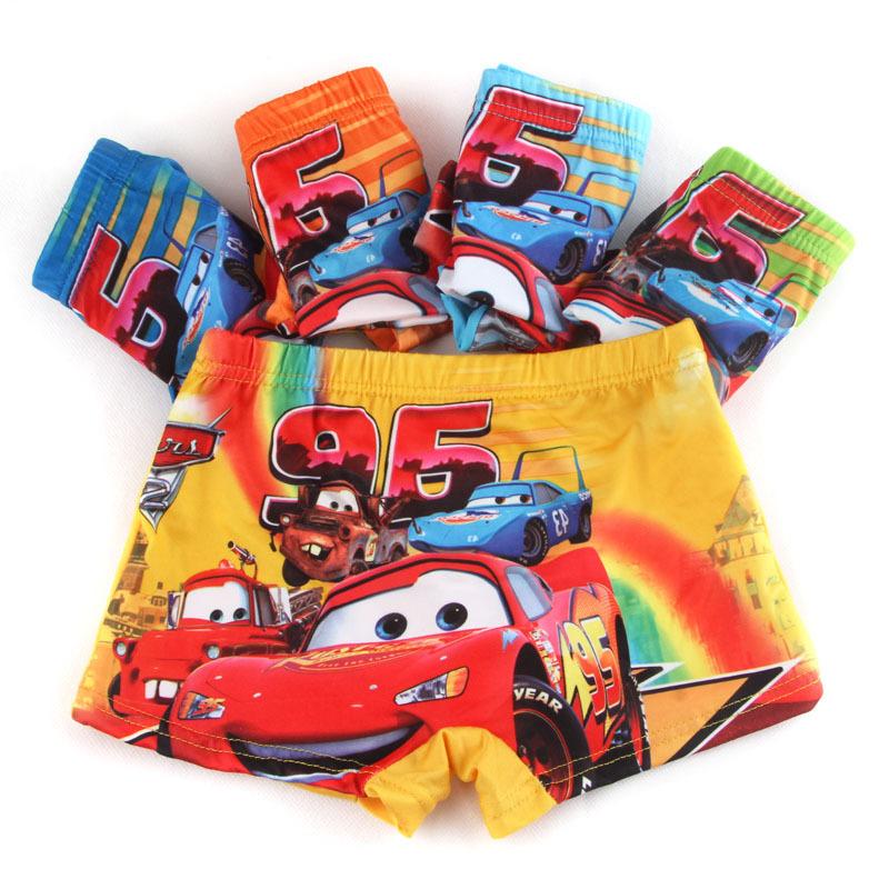 2Pcs/Lot Organic Cotton Kids Boys Shorts car Panties Pure Color Children's cartoon Underwear Boys Underwear 2-7 Year