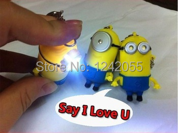 2015 New fashion Despicable Me minion LED Key Ring Flashlight Torch Sound Toy Novelty Gift Lover keychain for children gift(China (Mainland))