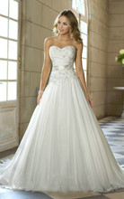 Cheap Price Free Shipping 2015 New Arrival A Line Sweetheart Applique Belt Vestidos De Noiva White Ivory Wedding Dresses OW 0112(China (Mainland))