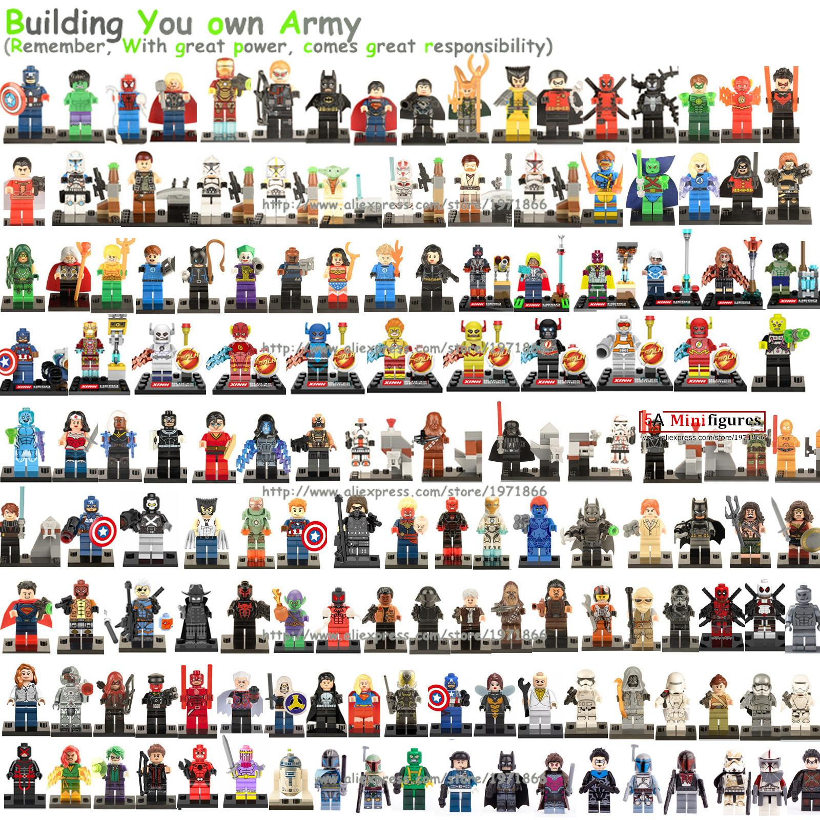 Legoelieds 6pcs/lot Marvel DC Super Hero Star Wars Avengers Minifigures Building Blocks Sets Anime Bricks Toys Figures
