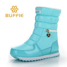 Winter stiefel frauen warme schuhe schnee boot 30% natürliche wolle schuhe weiß farbe BUFFIE 2019 große größe zipper mid- waden kostenloser versand(China)