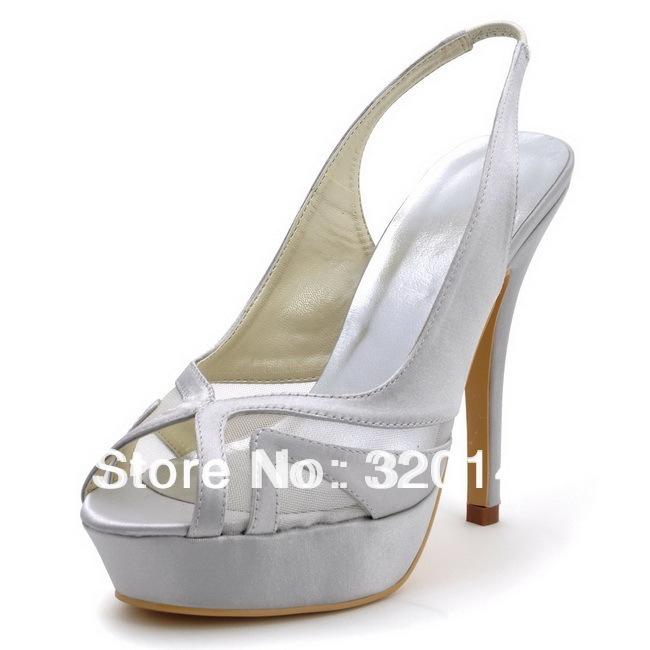 Фотография EP2117-PF Silver High Heel Sandals Peep Toe Cutouts Platform 5inch Stiletto Heel Slingback Satin Wedding Bridal Shoes