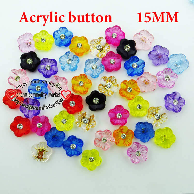 200PCS FLOWERS ACRYLIC button SHIRT CRYSTAL buttons clothes accessories crafts A-004(China (Mainland))