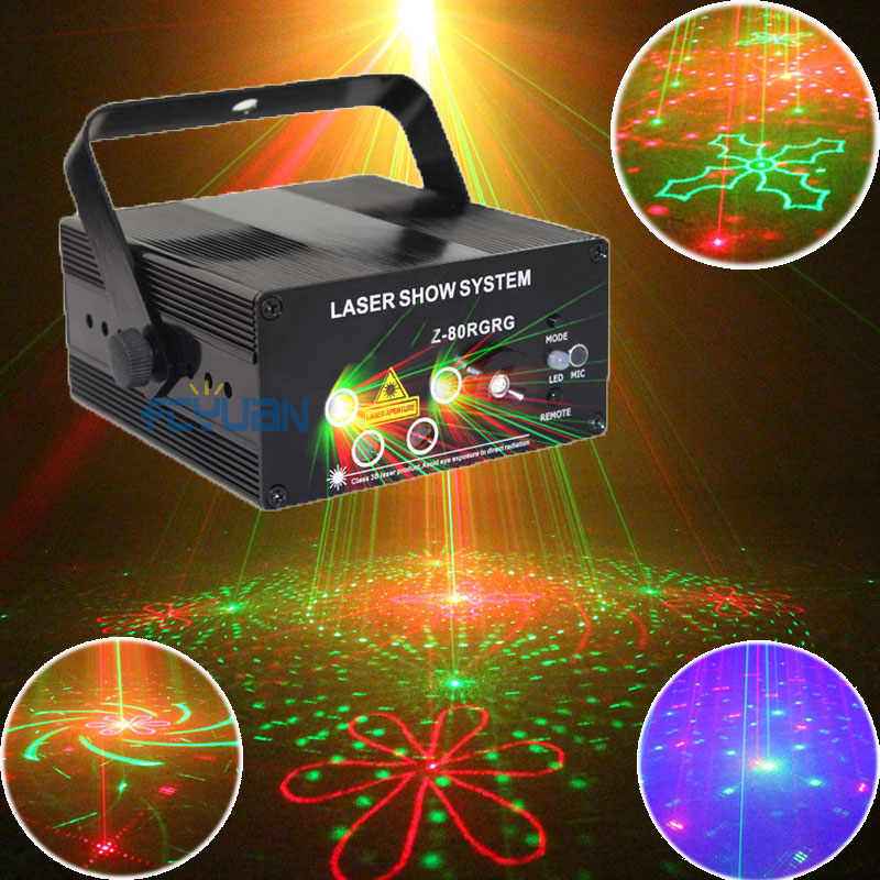 80 Patterns Red Green Laser Show System Blue LED Disco Party Magic Ball Dance Lights Stage DJ Lighting With Remote Sound Control(China (Mainland))
