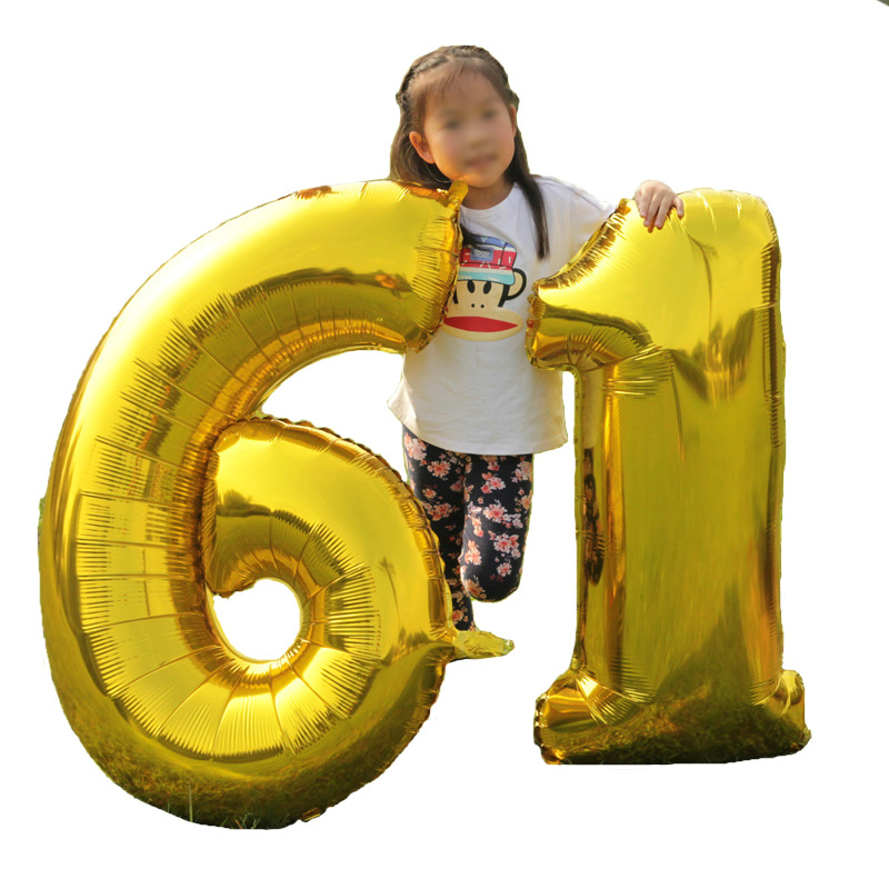 1 One Piece 32 inches Gold Silver Number Foil Big Balloons Digit Birthday Wedding Decoration Giant Balloon Event Party Supplies