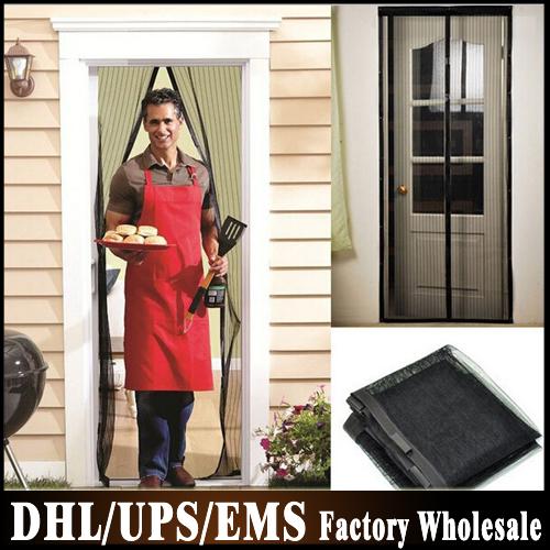 Free DHL Fedex 60pcs/lot 210cm x 100cm Magic Mesh Hand-Free Screen Door Curtain Blinds Shutters Net Magnetic Anti Mosquito Bug(China (Mainland))