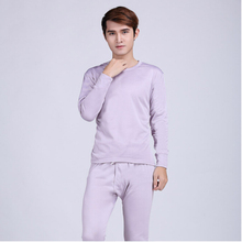 Plus Size L-XXXL Hot Sale Mens Silk Thermal Underwear Set Round Neck Cotton Thick Warm Winter Mens Clothing Long Johns Suit(China (Mainland))