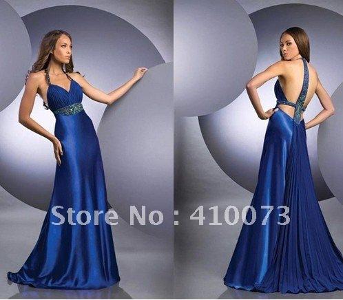 free shipping custom made hot sale sexy halter evening dress
