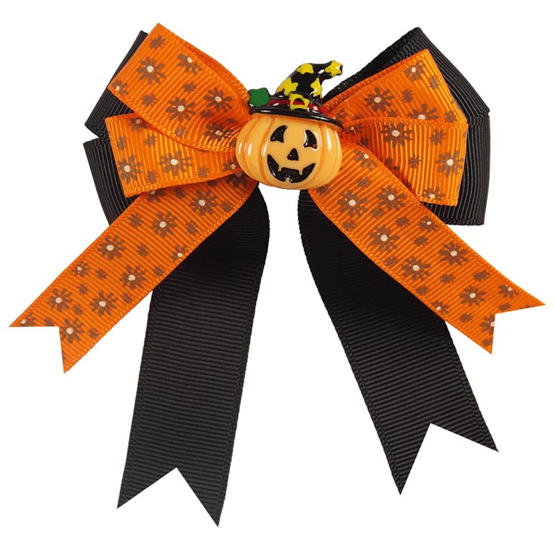 Lovely High Quality Halloween Pumpkin Print Ribbon Alligator Hair Bows For Children Girls Headwear 4Pcs/Lot(China (Mainland))