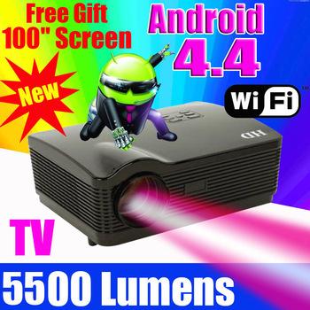 2015 atco 5500 lumens quad core android 4.4 wifi astuto 1080 p 3d full hd lcd home theater tv ha condotto il proiettore projektor video beamer