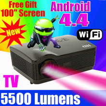 2015 ATCO 5500Lumens Quad core Android 4.4 WiFi Smart 1080P 3D Full HD LCD Home theater TV LED Projector Projektor Video Beamer(China (Mainland))