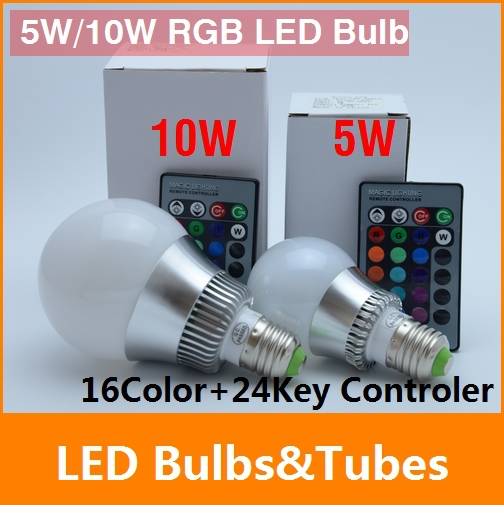 5w 10w E27 LED RGB bulb AC110~240V multicolor COLOUR LED Bulb Spot Light Lamp +24 key Remote controller Bright Limited Offer(China (Mainland))