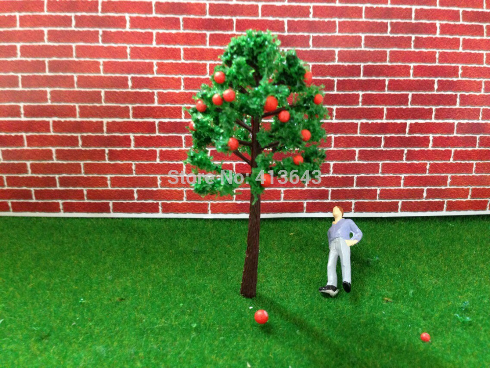 5cm HO Train Layout Miniature Model Trees Green Street red color apple tree, fruit tree in the mountain(China (Mainland))