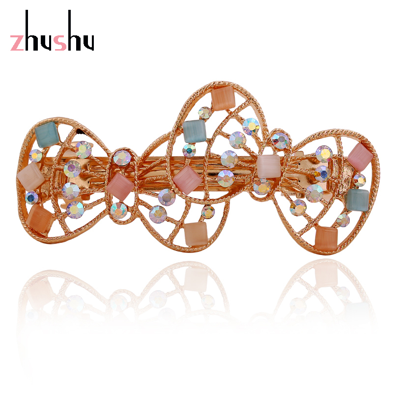 New Vintage Bowknots Full Rhinestone Hairpins Hair Clip Headwear Crystal 5 Colors Barrette Gold Plated Accessories for Women()