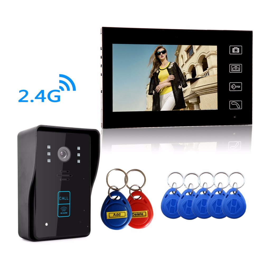 "Super waterproof HD Wireless 2.4G 7"" Video Door Phone Intercom System 1 RFID Keypad Code Number Doorbell One Camera One Monitor(China (Mainland))"