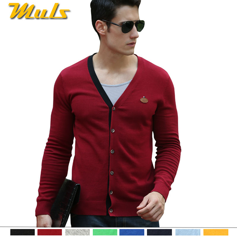 8 colors V neck cardigan sweater men patch design Spring tall mens sweater teenage cotton jumper Chinese size 2XL 3XL 4XL 88883(China (Mainland))