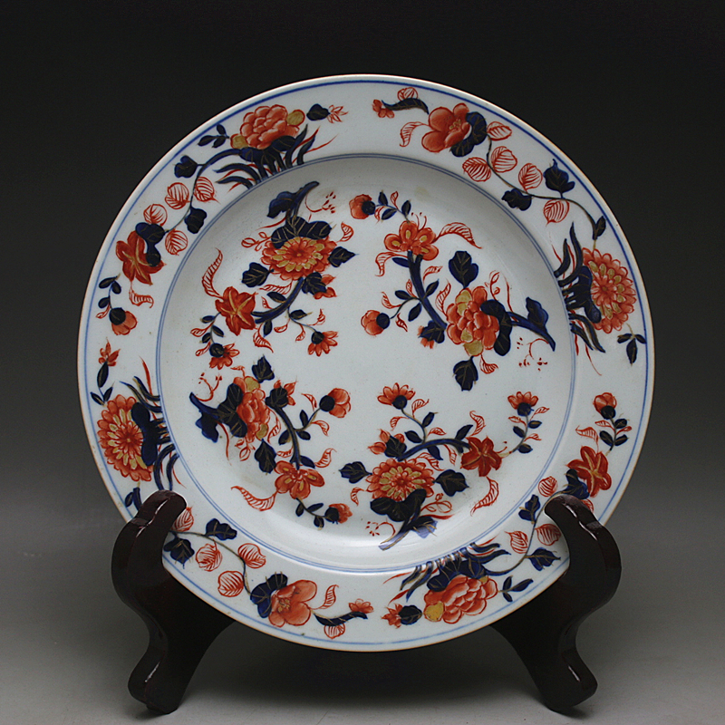 chinese vintage home decor Outline in gold Blue - white -red Color Flowers plate (3 style) crafts collection cooking tools(China (Mainland))