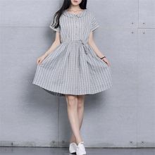 2016 spring autumn women clothing casual loose plus size dress preppy Vintage stripe cotton printing one-piece dresses female(China (Mainland))
