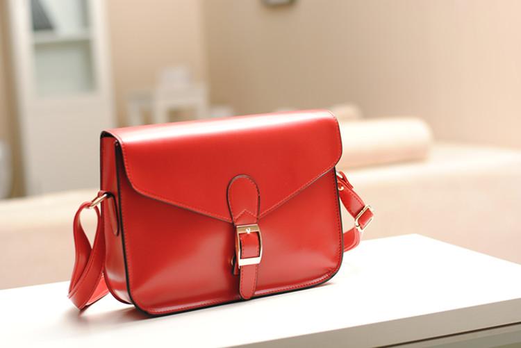 2Pcs Korea Style Envelope Single Shoulder Bag Red PU Leather Satchel