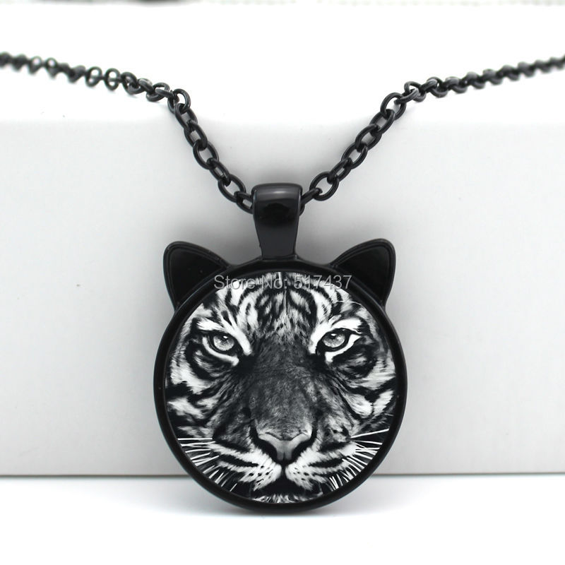 2016 New Tiger Pendant Necklace Tiger Jewelry Glass Cabochon Necklace Pendant CN-00467(China (Mainland))