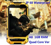 IP68 Rugged Android Waterproof Smartphone unlocked cell phone A8 MTK6582 Quad Core 1GB RAM Senior shockproof smartphone 3G GPS(China (Mainland))
