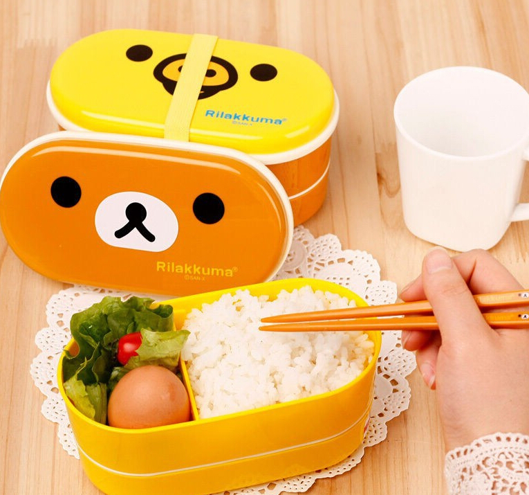 microwave rilakkuma bento multilayer children lunch box. Black Bedroom Furniture Sets. Home Design Ideas