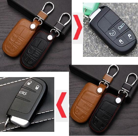 leather Car Key Cover For Dodge JCUV dart journey Jeep wrangler Grand Cherokee compass longitude Patriot Chrysler 300c fiat(China (Mainland))
