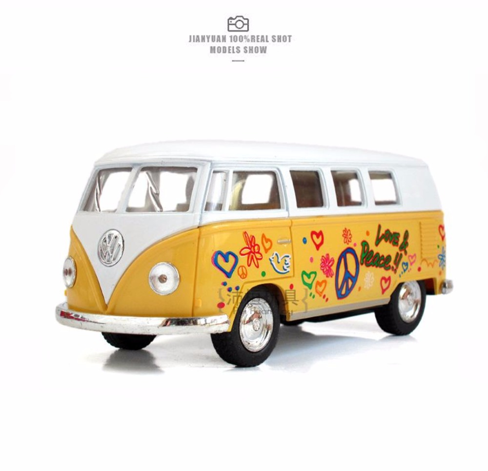 Hot Sale 1:32 High Simulation Car Model Volkswagen Van Retro Print Little Bus Alloy Metal Vehicles Model Kids Toys Collection(China (Mainland))