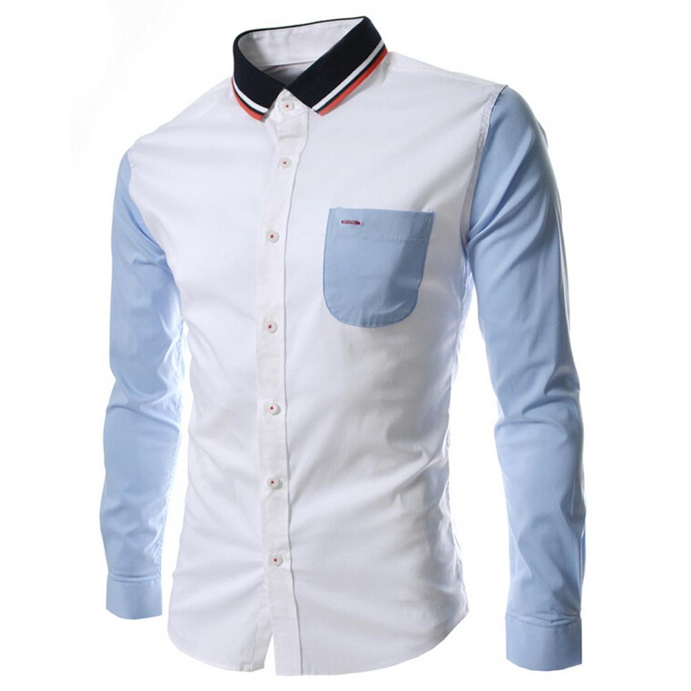 Saf new patchwork unique neckline mens dress shirts men for Long dress shirts mens