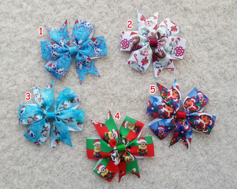 """30pcs 3.5"""" kid Baby Girl Santa Claus snowman Dora princess Minions Christmas Day ribbon hair bow clip accessories T1-5(China (Mainland))"""