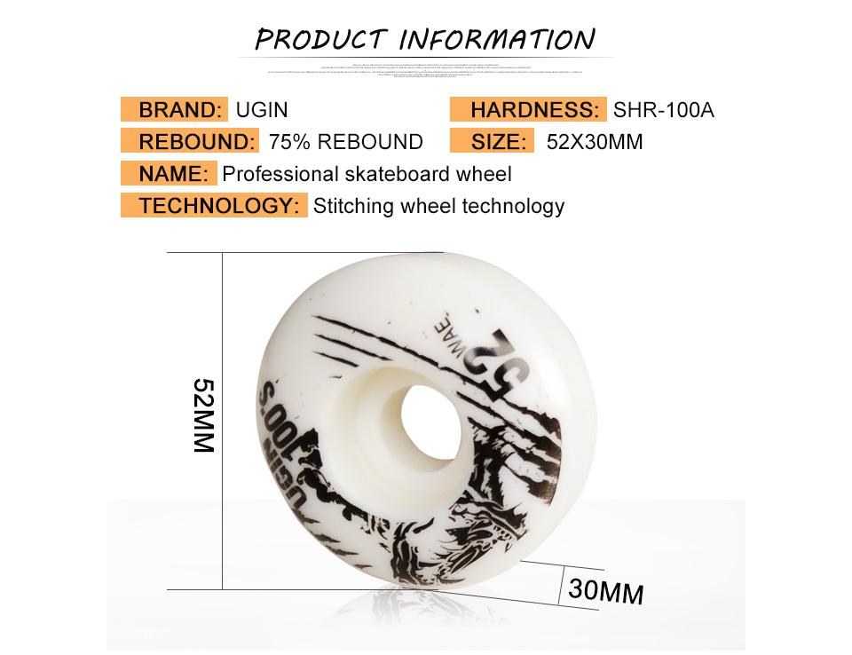 52x30mm UGIN Pro Skateboard Wheels Resilient PU 100A Longboard Deck Truck Wheel