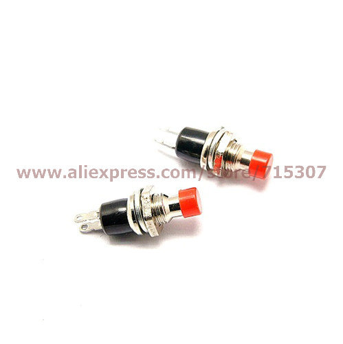 Free shipping 30pcs PBS-110 normally closed (push to close and release to open) red 7mm Push Button Switch without lock(China (Mainland))
