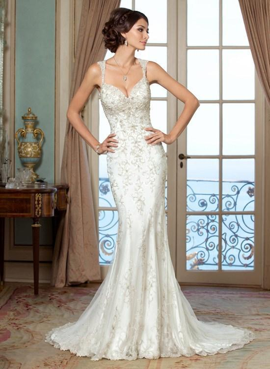 2015 elegant mermaid wedding dresses beaded sequins for Cross back wedding dress
