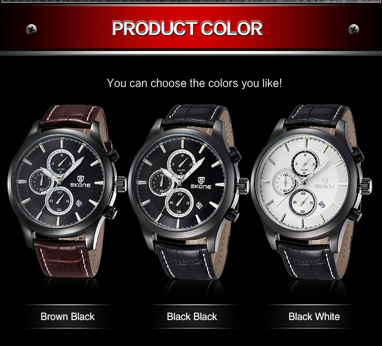 2016 New Arrival SKONE Brand Men's Watches Genuine Leather Watch Fashion Casual Wristwatch