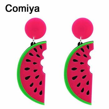 Comiya punk summer fashion Style candy big Acrylic watermelon Shape fruit Female Drop Earrings For Women Long Earring jewelry