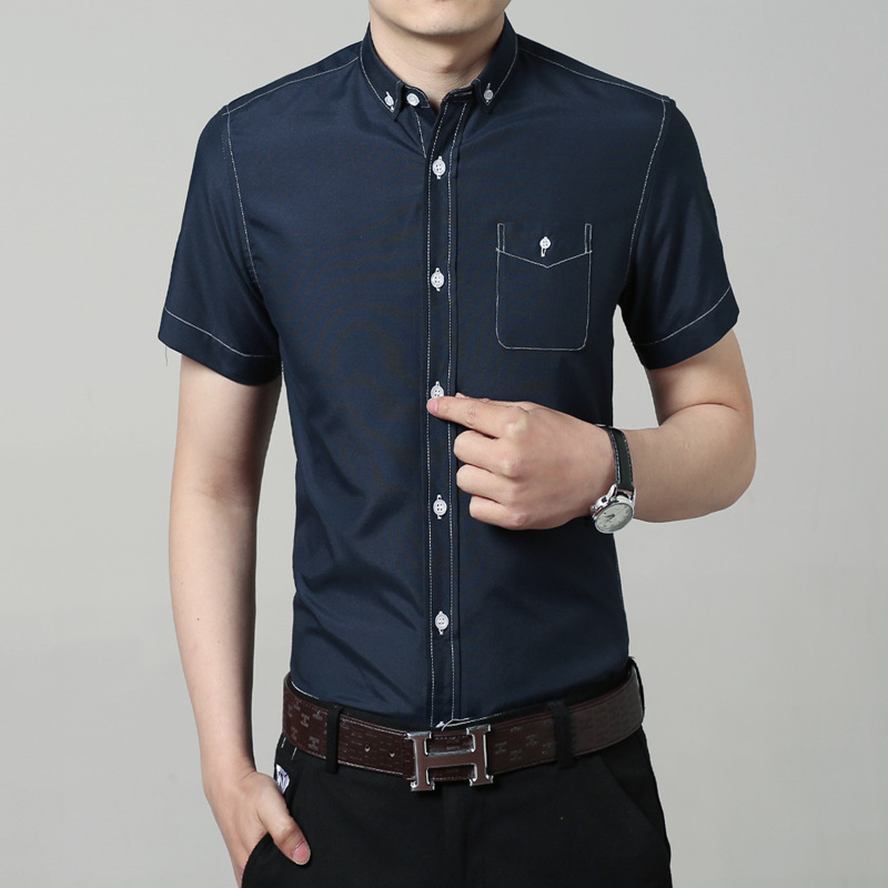 Free shipping 2016 new men's fashion casual short sleeved shirt solid color male, Slim fit fashion shirt, size M-4XL shirt(China (Mainland))