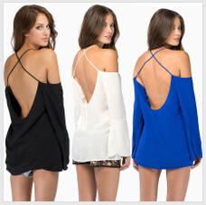 2015 Cross back fine condole belt Loose pure color Chiffon Blouse - AppleLee's happy Store store