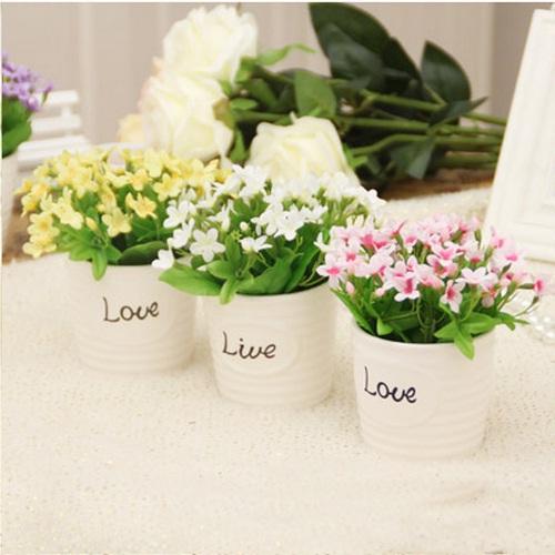 Flowers + Vase Set Rose Artificial Decoration Flower Home Furnishings WD6016 - Happy Textile Co., Ltd store