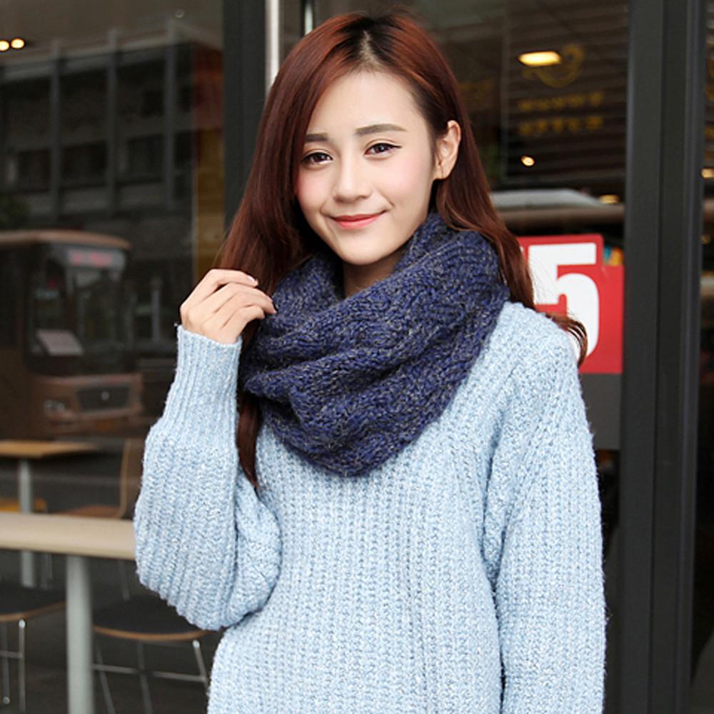 2015 Fashion Women Scarf Joker 2 Circle Cross Grain Knit Cowl Neck Shawl Solid Large Scarf Womens Winter Warm Scarves(China (Mainland))