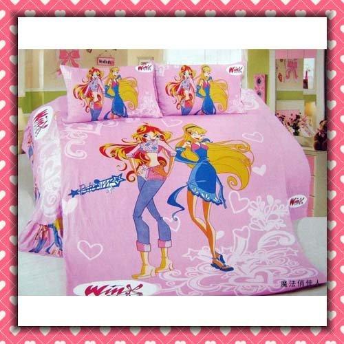 4pcs Bedding Set 100%  Cotton Winx club Printing Bedding Set Kid Children's Free Shipping