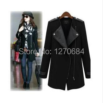 2014 New Winter Fall Fashion Women Casual Black Contrast PU Leather Trims Oblique Zipper Coat Trench ! - sexy queen shopping store