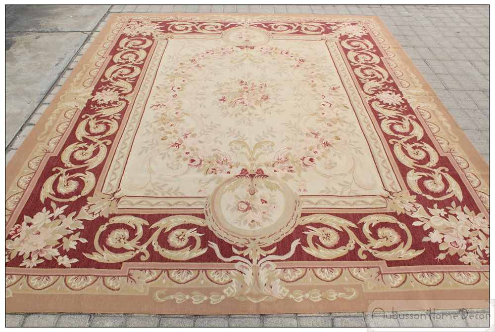 aubusson castle french area rug rust antique red pink wool carpet new