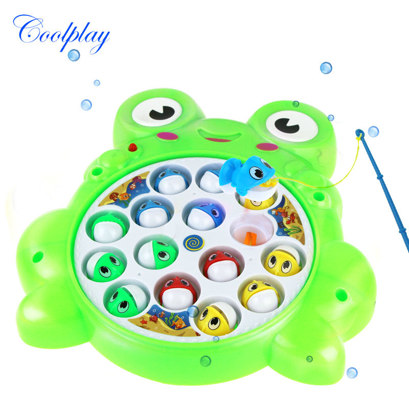 Coolplay 2 Color Kids Electric Rotating Fishing Toy Kid Children Baby Kid's Toy High Quality Fishing game Xmas gift 9982-12A(China (Mainland))