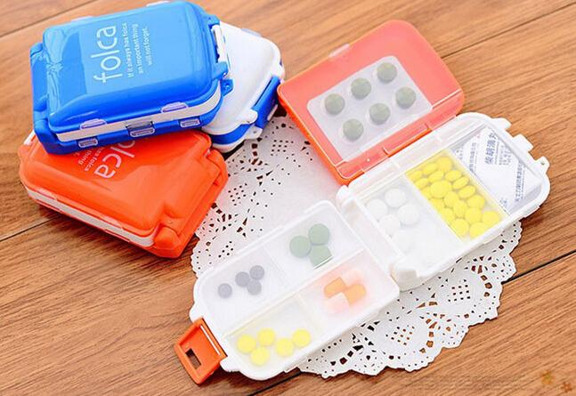 Wholesale Portable Mini portable storage box, sealed folded eight grid three small Pill Cases, 4 colors / selection(China (Mainland))