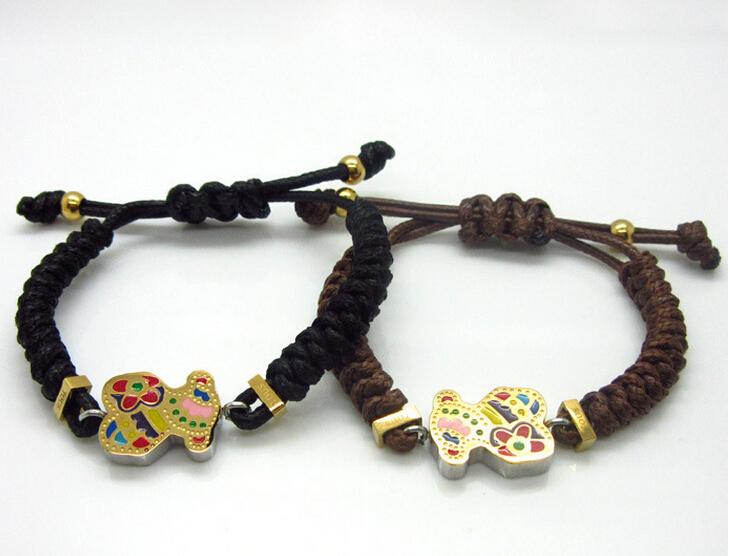 New Women Fashion High quality Bear Jewelry Braided Nylon Rope Bracelets Bangles, Stainless Steel Bracelet(China (Mainland))